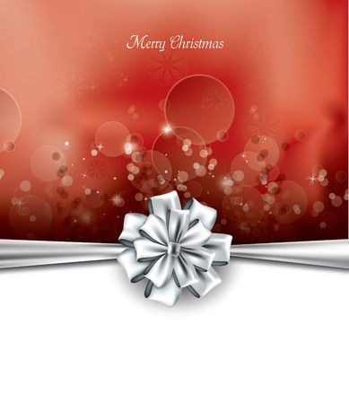happy new year text: Christmas Background with bow. Illustration