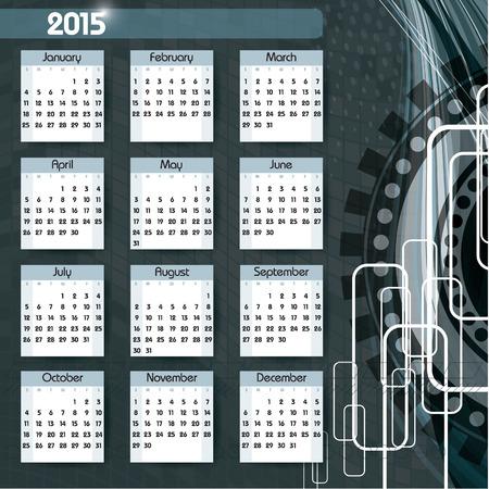 thursday: 2015 Calendar. Illustration