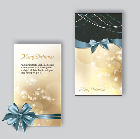 festive: Christmas Greeting Cards with bows.