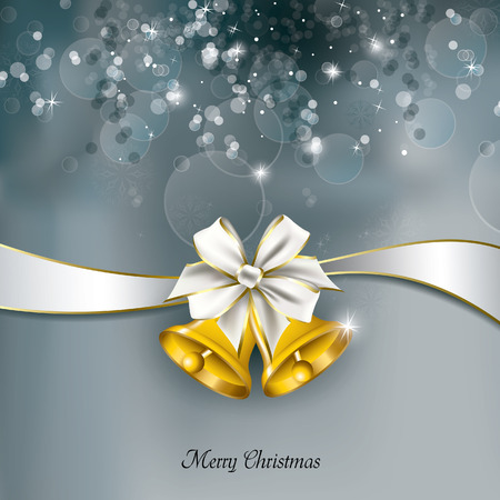 silver bells: Christmas Background. Greeting Card. Illustration