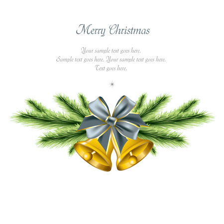 Christmas Background with bells and bow. Vector