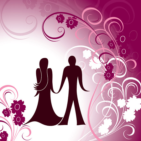 romance: Valentines Background. A Couple Holding Hands Against Floral Background..