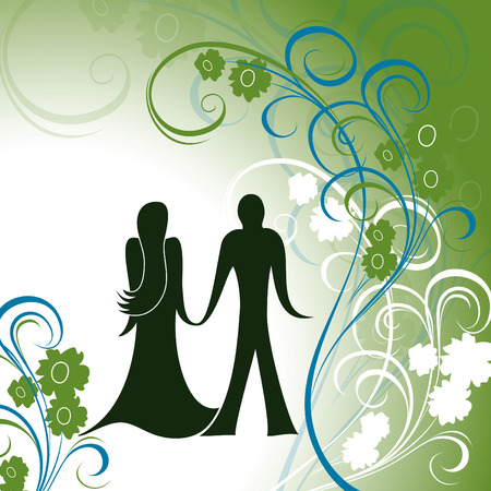 couple holding hands: Valentines Background. A Couple Holding Hands Against Floral Background..