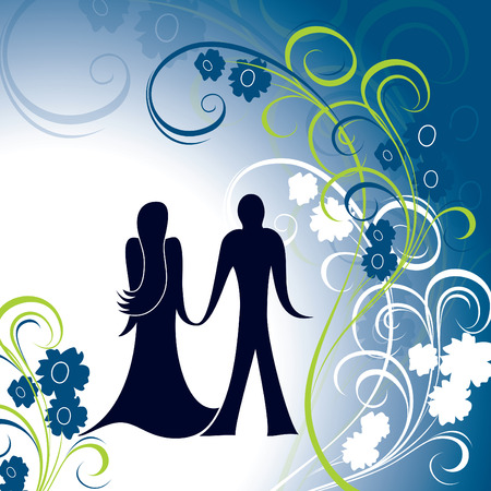 florish: Valentines Day Background. Isolated Silhouettes of Young Man and Woman in Love.