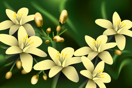 Yellow Flowers on green background.