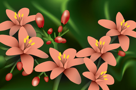 Red Flowers on green background.