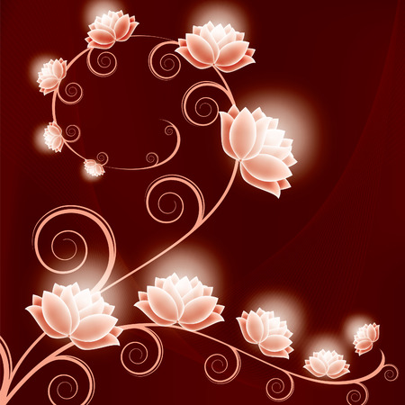 Floral Background with Shiny Flowers. Ilustracja