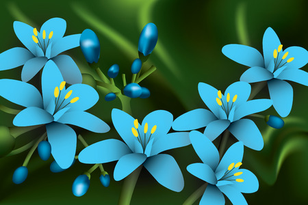 Blue Flowers on green background.