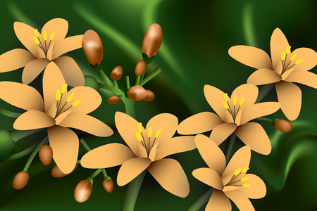 Orange Flowers on green background.