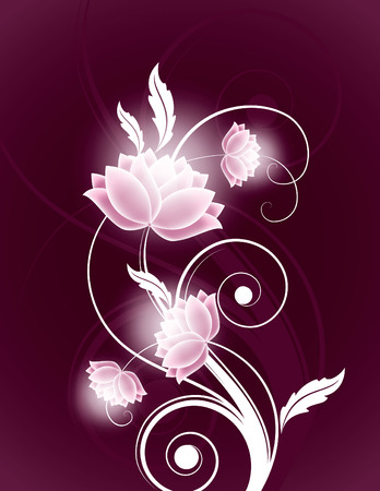 Abstract Background with Shiny Flowers. Vector