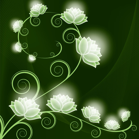 Abstract Vector Background with Shiny Flowers. Ilustracja