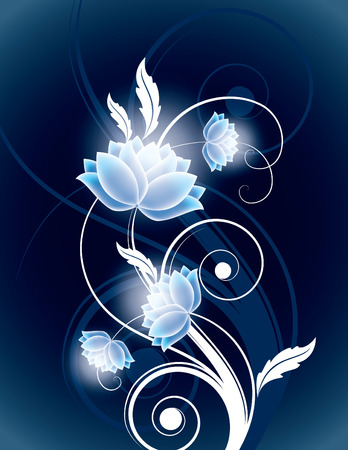 Abstract Vector Background with Shiny Flowers. Vector