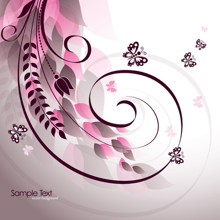 Abstract Wavy Illustration with Flowers and Butterflies