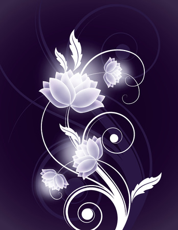 Dark Vector Background with Shiny Flowers.