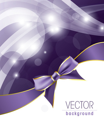 Purple Vector Background with Bow and Sparkles. Vettoriali