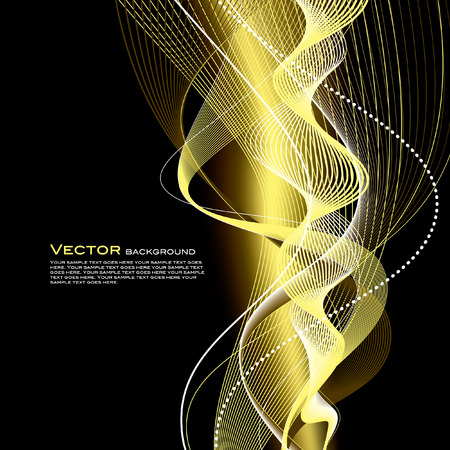 gold swirls: Abstract Shiny Illustration with Sparkles. Illustration