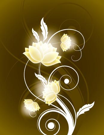 Dark Vector Background with Shiny Flowers. Zdjęcie Seryjne - 38756324