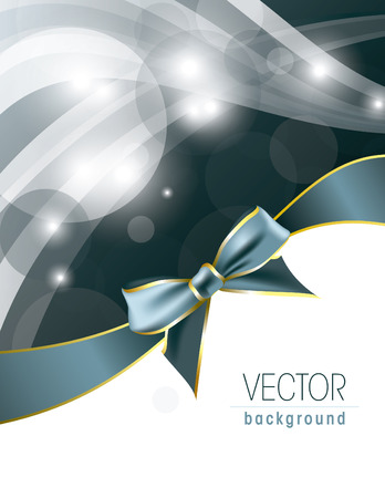 Silver Vector Background with Bow and Sparkles. Illustration