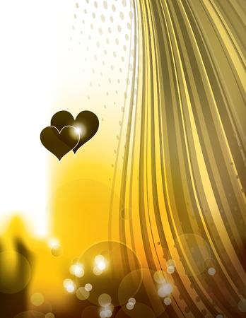 shiny hearts: Shiny Background with Two Hearts.