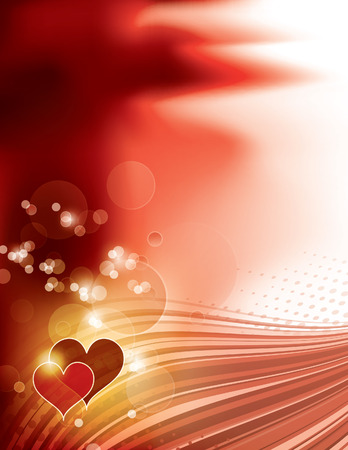 Shiny Background with Two Hearts. Vector