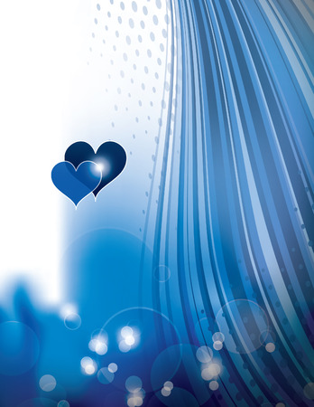 shiny background: Shiny Background with Two Hearts.