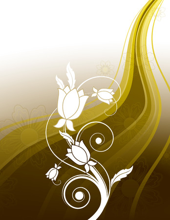 Vector Background with Golden Wavy Elements and White Flowers. Vector