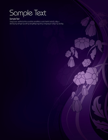 shiny background: Dark Floral Background with Shiny Flowers. Illustration