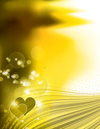 yellow heart: Abstract Golden Shiny Background with Hearts. Illustration