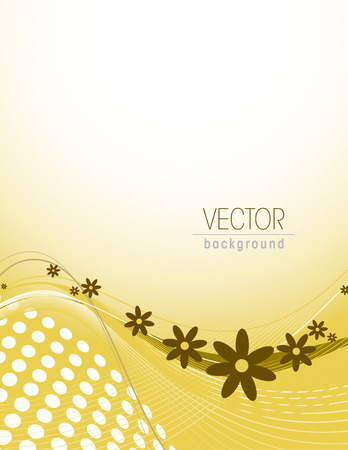 curve: Yellow Vector Floral Background. Illustration