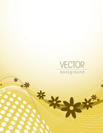 florish: Yellow Vector Floral Background. Illustration