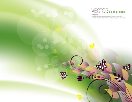 Green Background with Bright Leaves and Butterflies. Vector