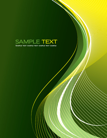 Green Abstract Vector Background with Wavy Lines.
