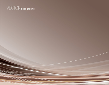 Abstract brown background with curved lines. Vector