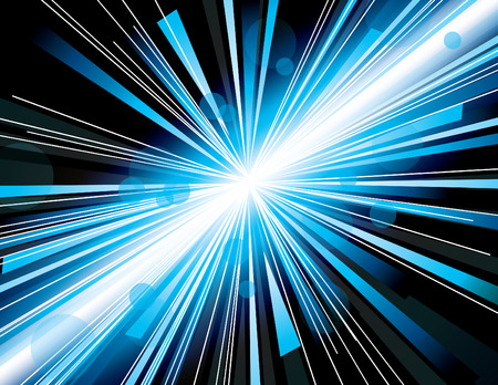 Vector illustration of abstract background with neon blue light rays. Vector