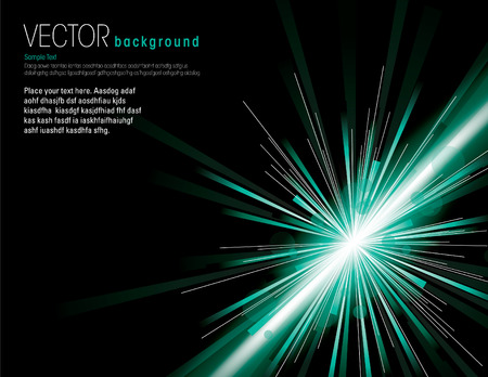 Vector illustration of abstract background with neon green light rays. Vector