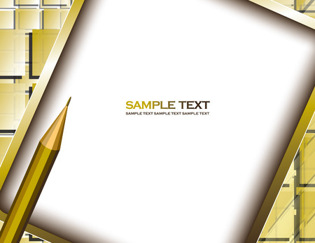 yellow notepad: Yellow Vector Background with Notepad and Pencil