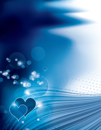 shiny background: Abstract Blue Shiny Background with Hearts. Illustration