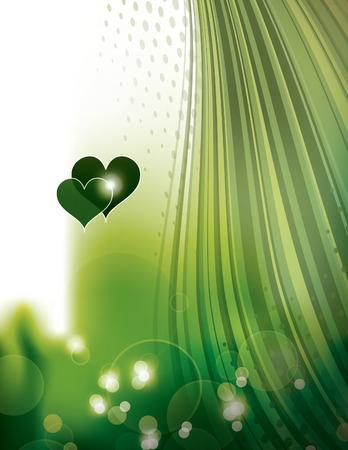 shiny hearts: Abstract Green Shiny Background with Hearts.