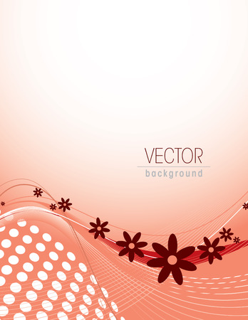 curve: Red Vector Floral Background.