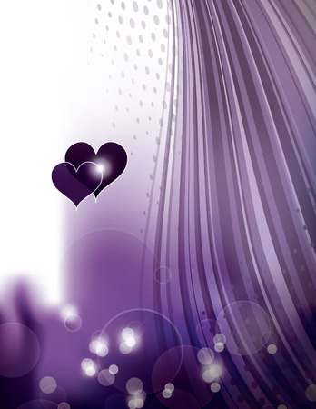 Abstract Purple Shiny Background with Hearts.