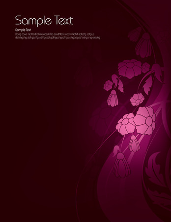 Dark Floral Background with Shiny Flowers. Vector