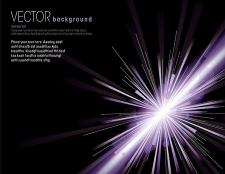 Vector illustration of abstract background with neon purple light rays.