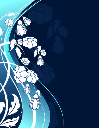 Blue Floral Background with White Flowers. Vector