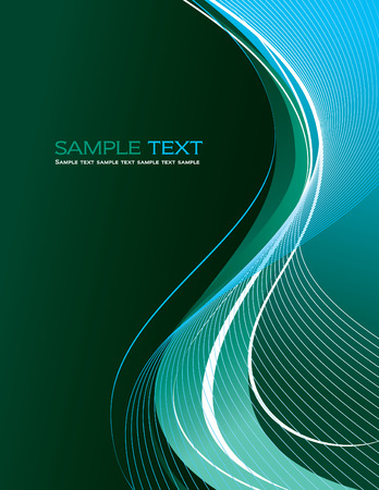 Turquoise Abstract Vector Background with Wavy Lines. Vector