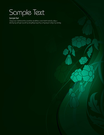 Dark Floral Background with Shiny Green Flowers. Vector