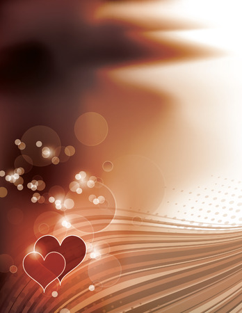 Abstract Bright Shiny Background with Hearts. Vector