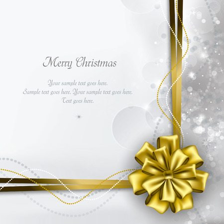 gold ornament: Christmas Background. Greeting Card. Illustration