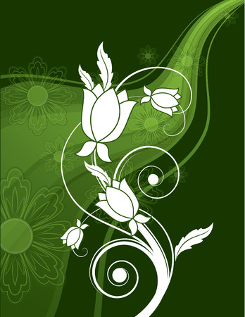white flowers: Vector Background with Green Wavy Elements and White Flowers. Illustration