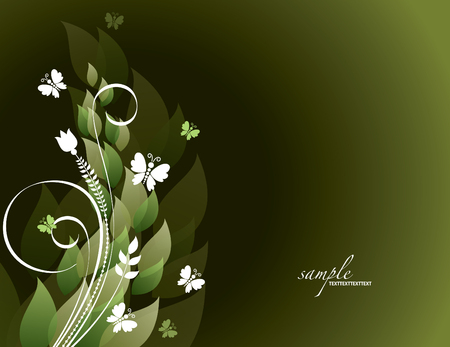 Green Background With Leaves and Butterflies. Abstract Vector Illustration. Vettoriali