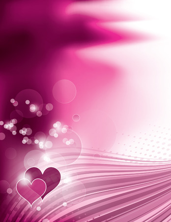 Abstract Pink Shiny Background with Hearts.